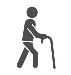 Old man solid icon man with walking stick vector