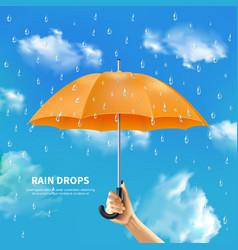Orange umbrella on cloudy sky background vector