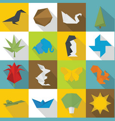origami icons set flat style vector image