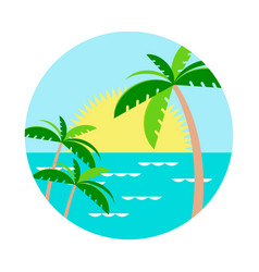 Palm trees against the setting sun in the water vector