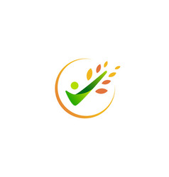 people check leaf logo icon vector image