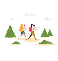 People hiking backpack forest nature landscape vector