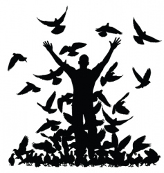 Pigeon man vector