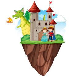 prince and princess at castle vector image