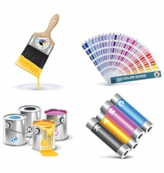 print shop icon set vector image