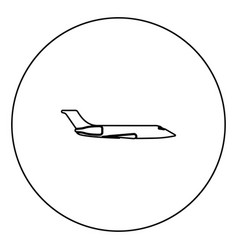 private airplane black icon outline in circle vector image