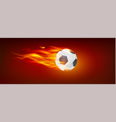 realistic flying burning classical football ball vector image