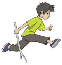 running boy with a stick vector image