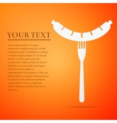 Sausage on fork flat icon over orange background vector image