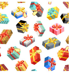 seamless pattern with different giftboxes colored vector image