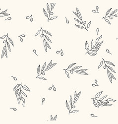 seamless pattern with olive tree branches vector image