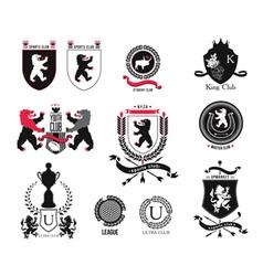 Set brand sports club student club heraldic shi vector