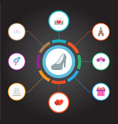 set of ceremony icons flat style symbols with gift vector image