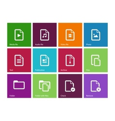 Set of Files icons on color background vector