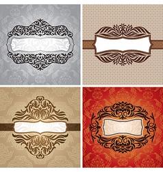 Set of floral vintage frames vector image vector image