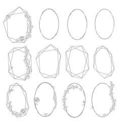 Set oval and polygonal floral frames vector