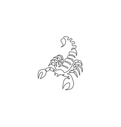 single continuous line drawing deadly scorpion vector image