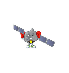 Sporty boxing satellite network cartoon character vector