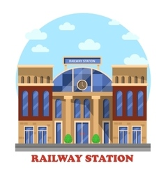 Train and railway railroad station or depot vector