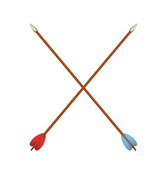 two crossed bow arrows vector image