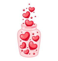 valentines day jar filled with hearts vector image