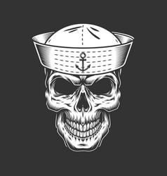 Vintage seaman skull in sailor hat vector