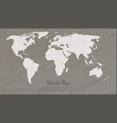 Vintage world map paper card map silhouette vector