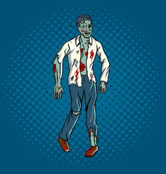 Walking zombie pop art style vector