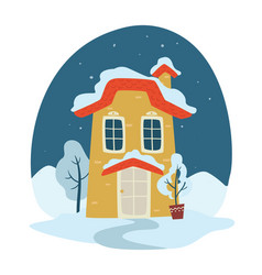 winter landscape at night house covered with snow vector image