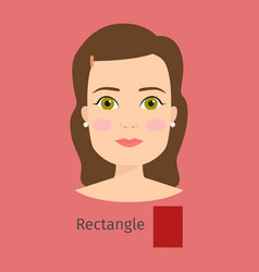 Woman face type rectangle vector
