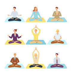 women men doing yoga in lotus posture vector image