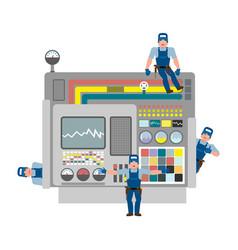 worwer and industrial machinery repair team vector image