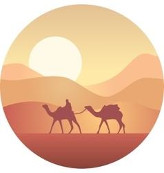 Bedouin leading a caravan of camels in the desert vector image vector image