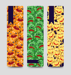 bookmarks set with colorful monsters vector image vector image
