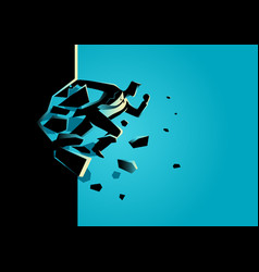 businessman jump breaking the wall vector image