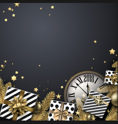 grey 2018 background with gifts and clock vector image vector image