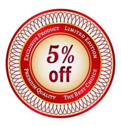 Label on 5 percent discount vector image vector image