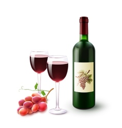 Red Wine Bottle Glasses And Grapes vector image