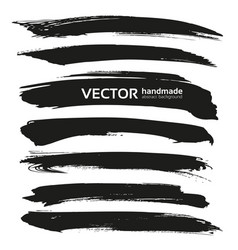 Abstract black brush strokes isolated on a vector