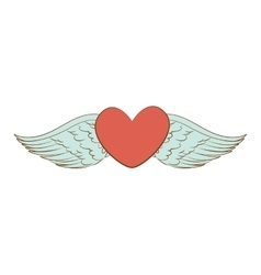 heart wing love icon vector image