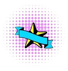Star award icon comics style vector image vector image