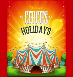Summer circus holidays poster vector