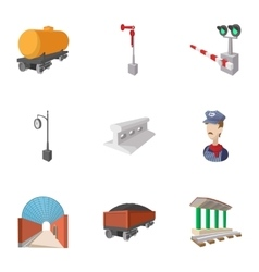 Train icons set cartoon style vector image