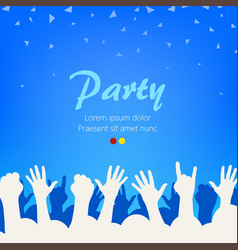 bright blue party background group of people vector image
