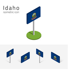 flag of idaho usa 3d isometric flat icons vector image vector image
