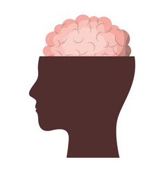 human face brown silhouette with brain exposed in vector image
