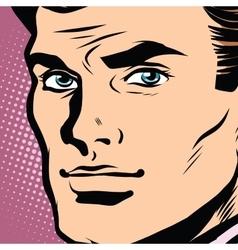 Male face profile close-up pop art vector image vector image