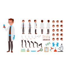scientist man animated character creation vector image vector image