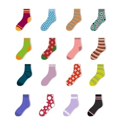 Colorful cute child socks icons Sock set isolated vector image