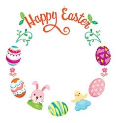 Easter egg decorating on circle frame vector